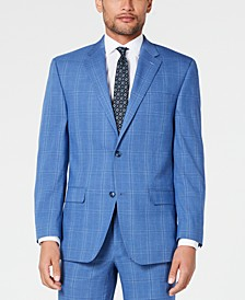 Men's Classic-Fit Stretch Blue Plaid Suit Jacket