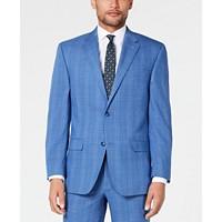 Sean John Mens Classic-Fit Stretch Blue Plaid Suit Jacket