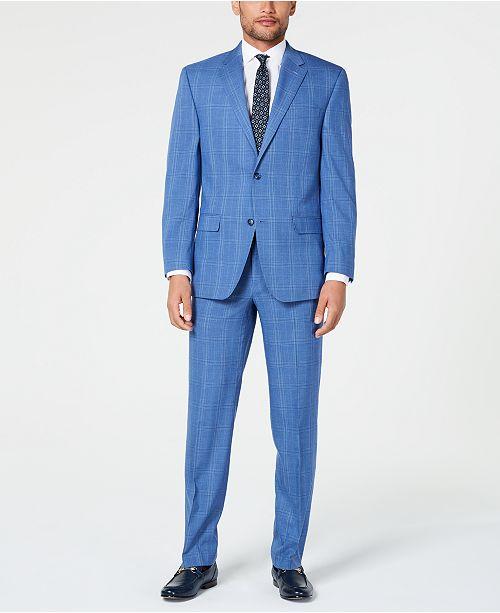 Sean John Men's Classic-Fit Stretch Blue Plaid Suit Separates