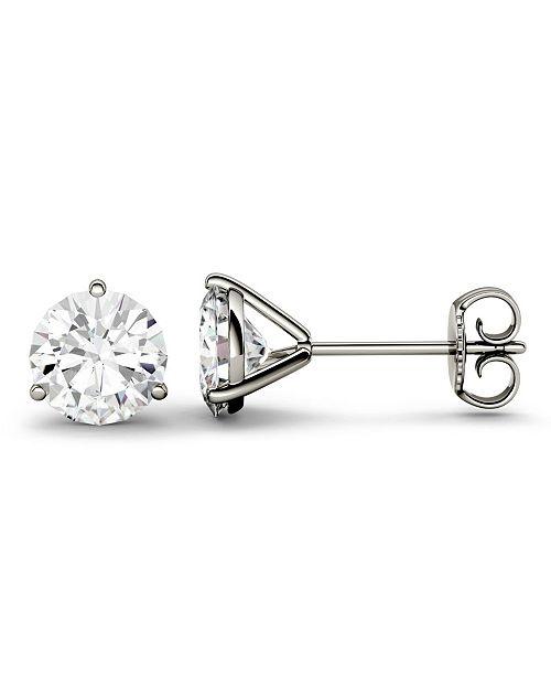 Charles & Colvard Moissanite Martini Stud Earrings (2 ct. t.w. Diamond Equivalent) in 14k White or Yellow Gold