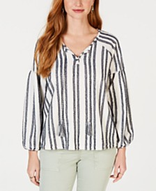 Style & Co Striped Tassel Top, Created for Macy's