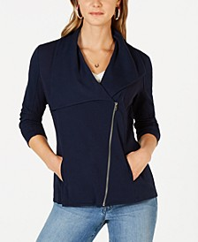 Ribbed-Knit Drape-Front Jacket, Created for Macy's