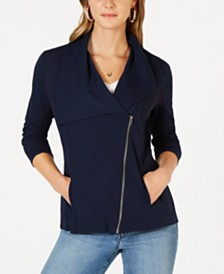 Style & Co Ribbed-Knit Drape-Front Jacket, Created for Macy's