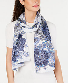 Echo Resort Toile Silk Oblong Scarf