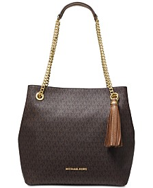 3b6e4674fe MICHAEL Michael Kors Signature Jet Set Chain Shoulder Tote