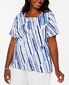 Alfred Dunner Plus Classic Size Broken Stripe Printed Knit Top