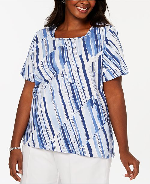 bb5b4dd1377 ... Alfred Dunner Plus Size Classic Broken Stripe Printed Knit Top ...