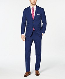 Men's Slim-Fit Stretch Wrinkle-Resistant Blue Check Suit Separates
