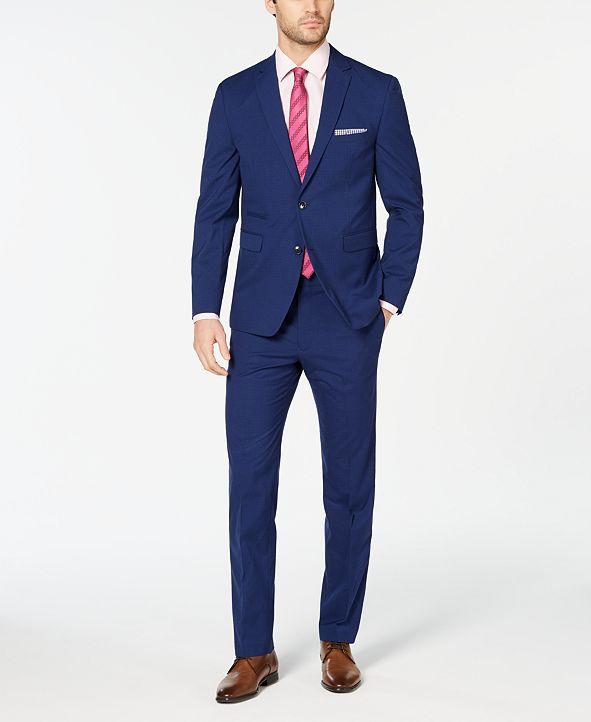 Vince Camuto Men's Slim-Fit Stretch Wrinkle-Resistant Blue Check Suit Separates