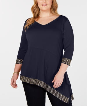 Belldini Tops BLACK LABEL PLUS SIZE EMBELLISHED ASYMMETRICAL TUNIC