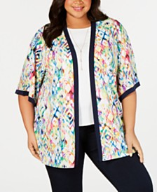 Belldini Black Label Plus Size Open-Front Printed Kimono