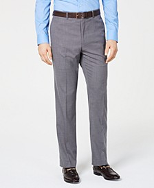 Men's Slim-Fit Stretch Wrinkle-Resistant Gray Textured Solid Suit Pants