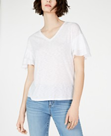 I.N.C. Tiered Flutter-Sleeve Top, Created for Macy's