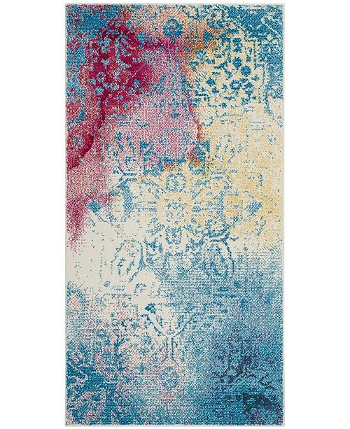 """Safavieh Watercolor Light Blue and Light Yellow 2'7"""" x 5' Area Rug"""