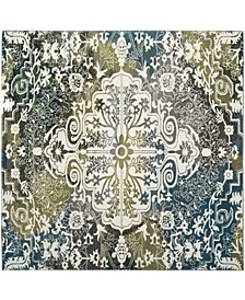 "Watercolor Ivory and Peacock Blue 6'7"" x 6'7"" Square Area Rug"