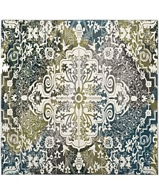 "Safavieh Watercolor Ivory and Peacock Blue 6'7"" x 6'7"" Square Area Rug"