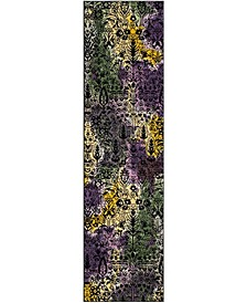 """Watercolor Light Yellow and Green 2'2"""" x 8' Runner Area Rug"""