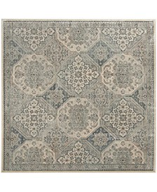 Vintage Cream and Blue 6' x 6' Square Area Rug