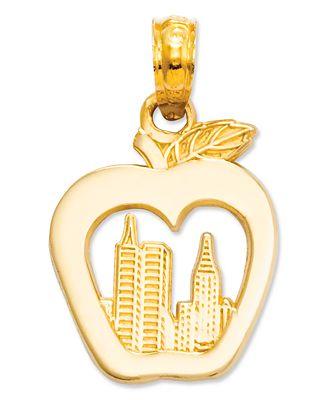 14k Gold Charm, New York Skyline in Apple Charm