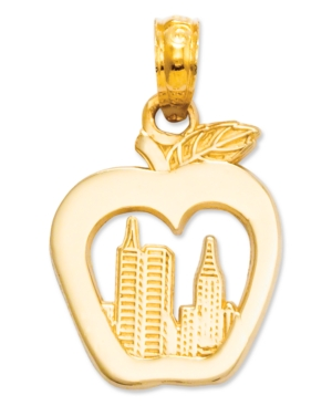 14k Gold Charm, New York Skyline in Apple Charm