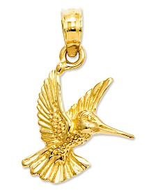 14k Gold Charm, Hummingbird Charm