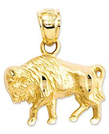 14k Gold Charm, Diamond-Cut Buffalo Charm