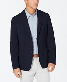 Calvin Klein Men's Slim-Fit Stretch Navy Plaid Seersucker Sport Coat
