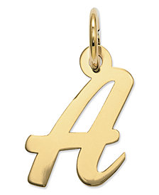 14k Gold Charm, Small Script Initial A Charm