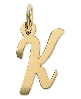 14k Gold Charm, Small Script Initial K Charm