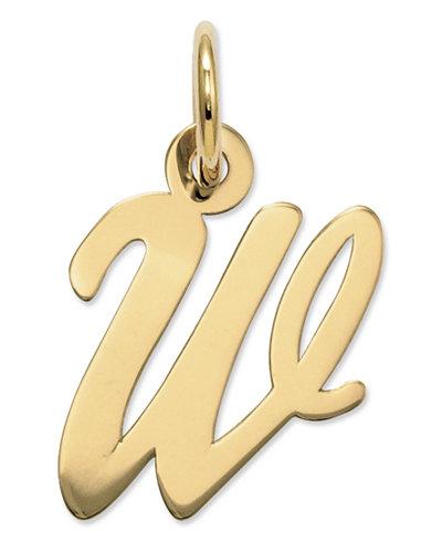 14k Gold Charm, Small Script Initial W Charm