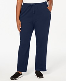 Karen Scott Plus Size Colorblocked Striped Pants, Created for Macy's