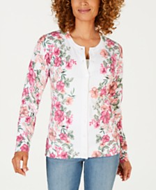 Karen Scott Floral-Print Cardigan, Created for Macy's