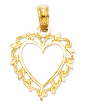 14k Gold Charm, Lace Trimmed Heart Charm