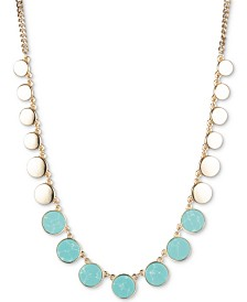 "DKNY Gold-Tone & Stone Disc Collar Necklace, 16"" + 3"" extender, Created for Macy's"