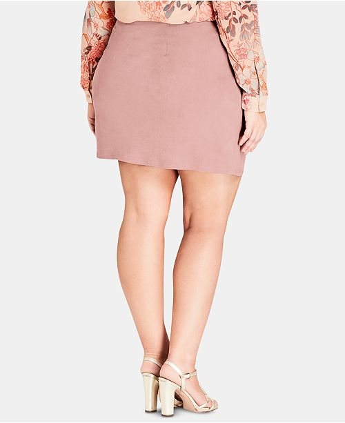 1e73771468 City Chic Trendy Plus Size Faux-Suede Mini Skirt & Reviews - Skirts ...
