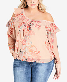 City Chic Trendy Plus Size One-Shoulder Ruffled Top