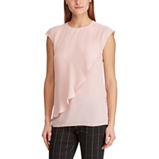 Lauren Ralph Lauren Ruffled Georgette Cap-Sleeve Top