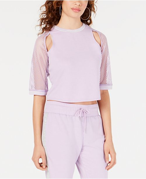 Material Girl Juniors' Cutout Mesh-Sleeve Top, Created for Macy's