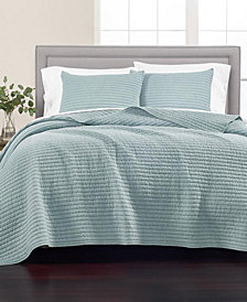 Martha Stewart Collection Washed Rice Stitch Quilt and Sham Collection, Created for Macy's
