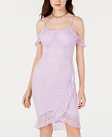 Material Girl Juniors' Ruffled Lace Bodycon Dress, Created for Macy's