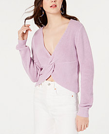 Material Girl Juniors' Twist-Front Cropped Sweater, Created for Macy's