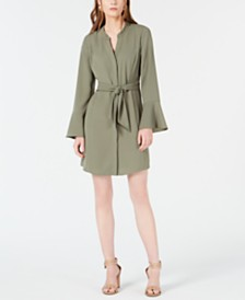 Bar III Long-Sleeve Tie-Front Dress, Created for Macy's