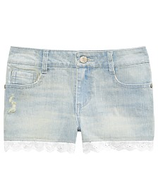 Epic Threads Big Girls Eyelet Hem Denim Shorts, Created for Macy's