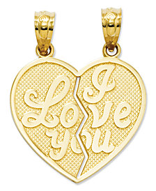 14k Gold Charm, I Love You Heart Break-Apart Reversible Charm