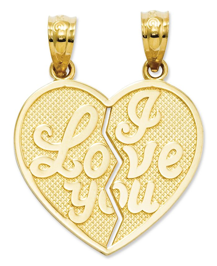 Macy's - 14k Gold Charm, I Love You Heart Break-Apart Reversible Charm