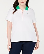 cb3df2843b6 Tommy Hilfiger Plus Size Contrast-Collar Polo Top