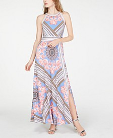 INC Petite Printed Halter-Neck Maxi Dress, Created for Macy's