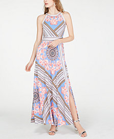 I.N.C. Petite Printed Halter-Neck Maxi Dress, Created for Macy's