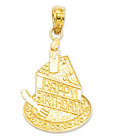 14k Gold Charm, Slice Of Birthday Cake Charm