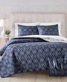 Martha Stewart Essentials Diamond Geo Quilt and Tote Bag Sets, Created for Macy's